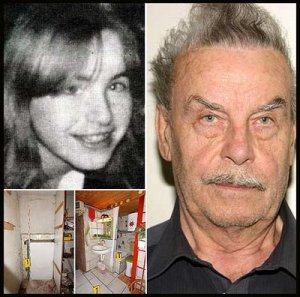 Josef Fritzl (right), his daughter Elisabeth (left) and her prison (below).