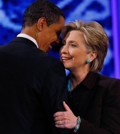 Barack Obama and Hillary Clinton share a tender moment