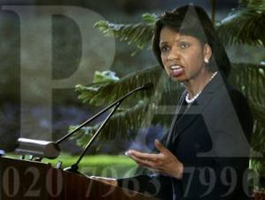 Condoleezza Rice giving a speech in the US embassy in New Delhi, India, Wednesday, Dec. 3, 2008