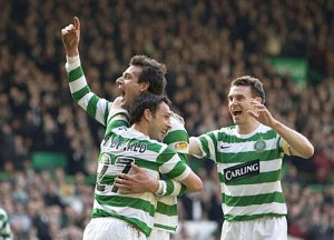 Celtic Celebrate Old Firm win photo courtesy of BBC