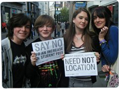 Students protest against an increase in tuition fees (courtesy of nus.org.uk)