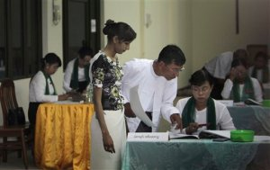AP Photo/ Khin Maung Win - A Burmese polling station. International election observers and foreign media was banned from monitoring the elections