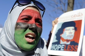 Picture : giladlotan on Flickr. Protest in London to support the Libyan revolution.