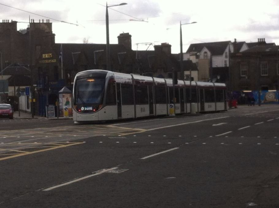 Tram outside Haymarket Station.