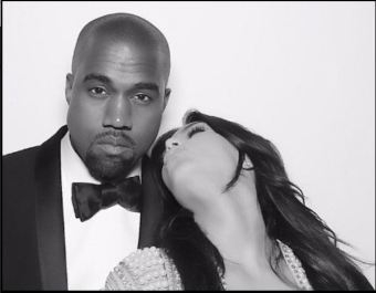 Kanye West with his wife Kim Kardashian